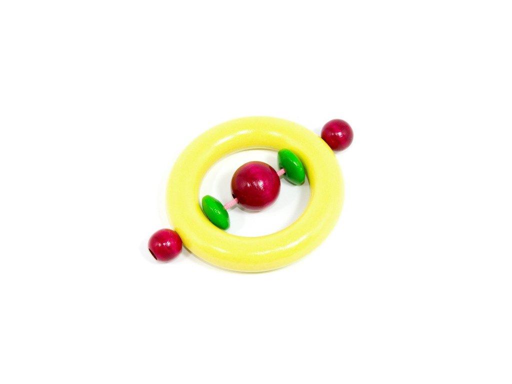Pastelově žlutý kroužek s korálky