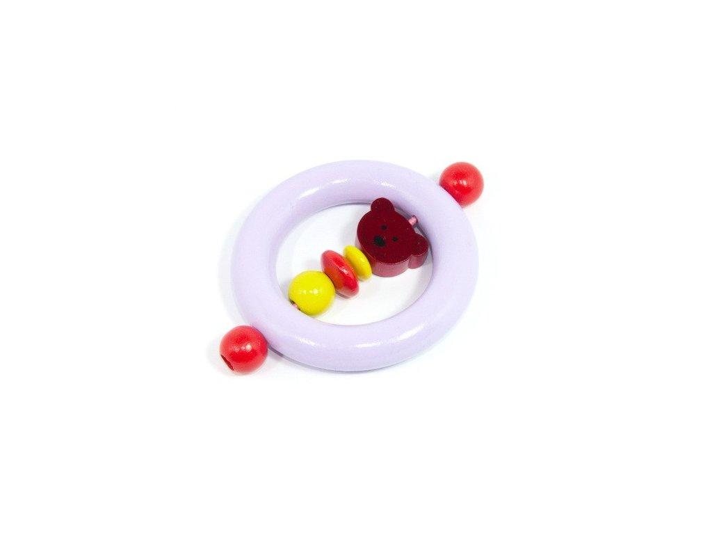 Pastelově fialový kroužek - tmavě červený medvídek