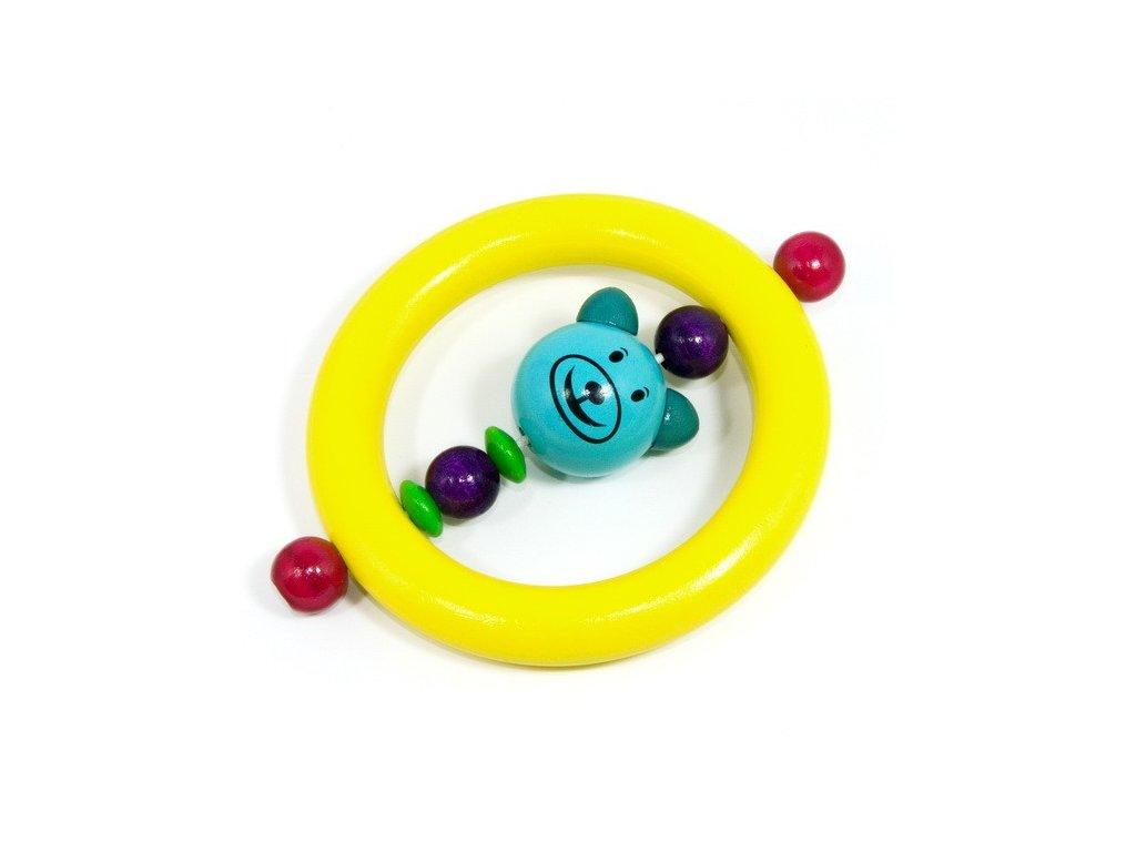 Medvěd světle tyrkysový - kroužek žlutý