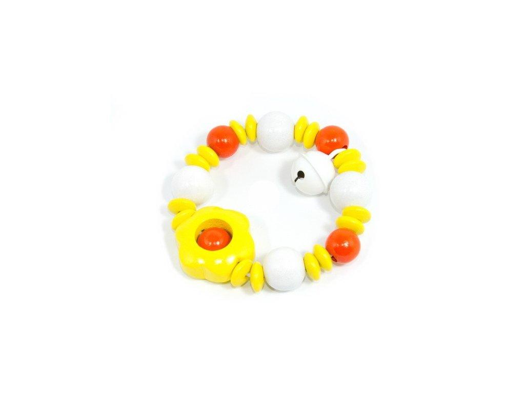 Žlutá kytička s bílou rolničkou - elastická hračka pro miminka