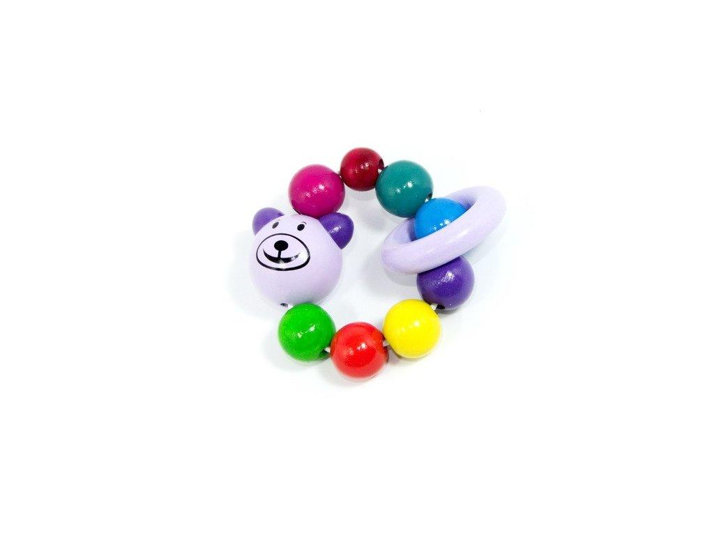 Pastelově fialový Medvěd - elastická hračka pro miminka