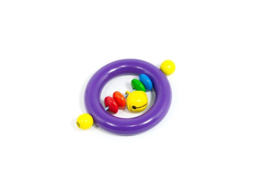 Fialový kroužek pro miminka - žlutá rolnička