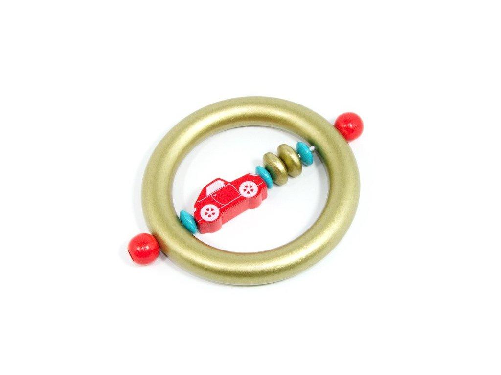 Auto červené - kroužek zlatý