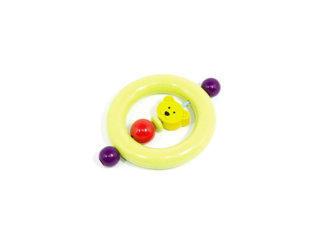 Pastelově zelený kroužek - žlutý medvídek