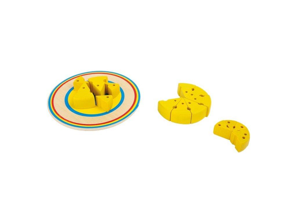 Dřevěná mini hra - balancující sýr