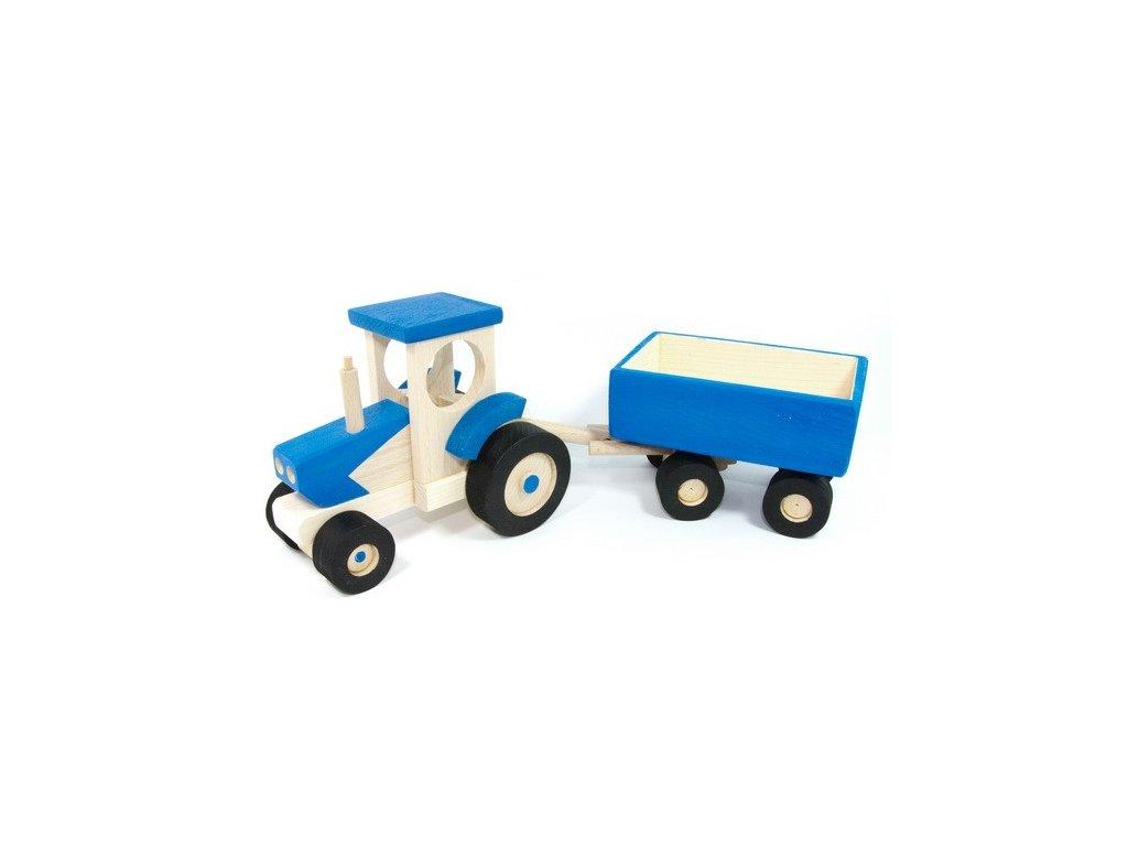 Modrý traktor s valníkem
