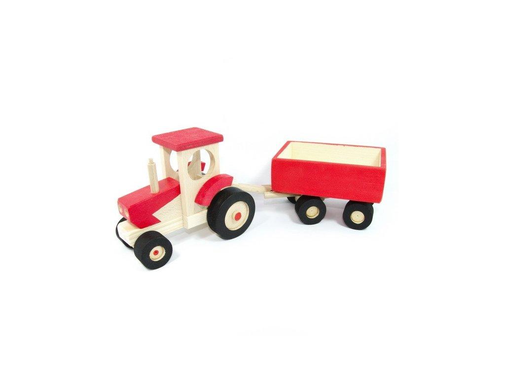 Červený traktor s valníkem