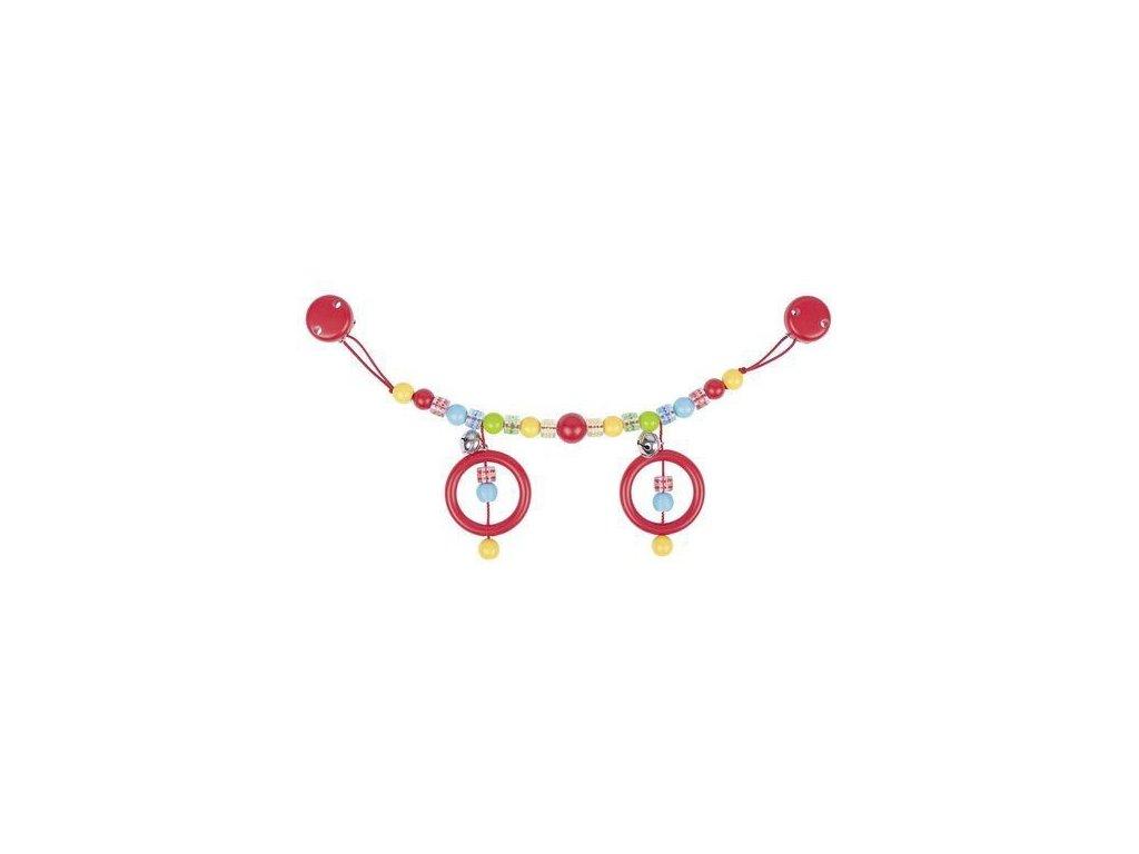Plastový řetěz do kočárku barevný s puntíky