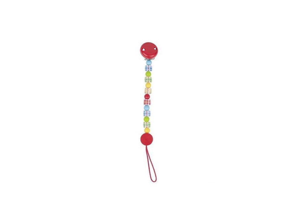 Plastová šňůra na dudlík – barevná s puntíky
