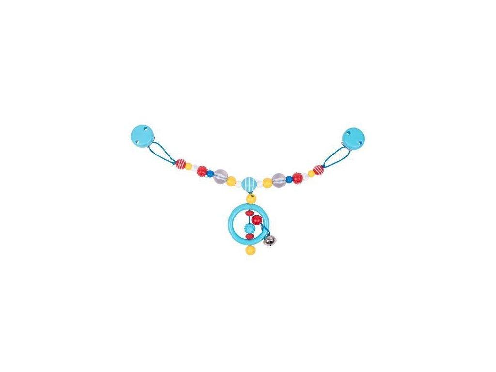 Plastový řetěz do kočárku – modrý kroužek, 2v1