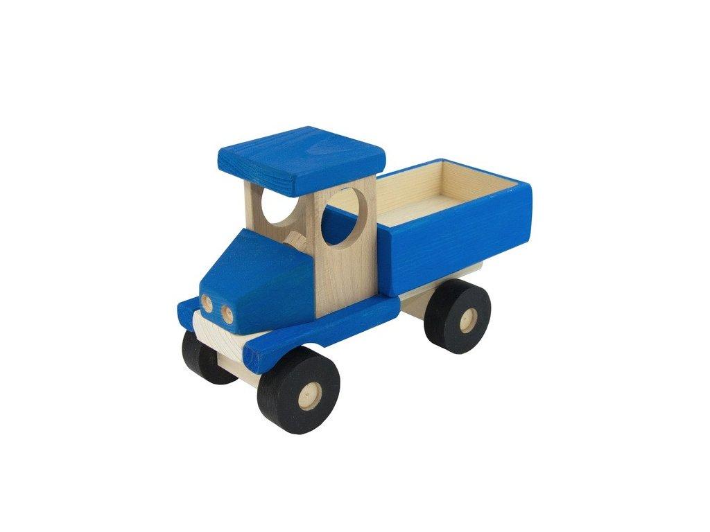 Modré auto s valníkem