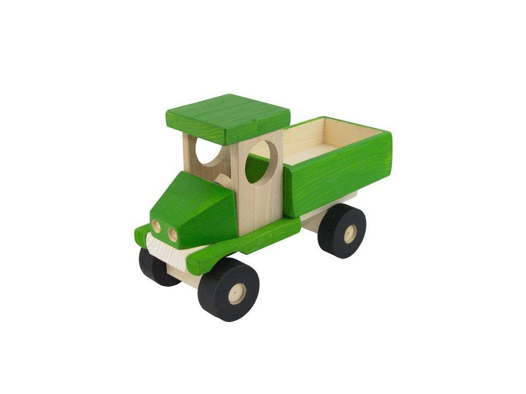 Zelené auto s valníkem