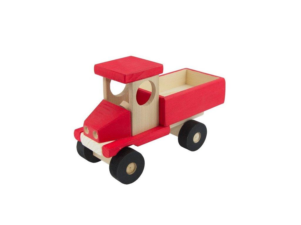 Červené auto s valníkem