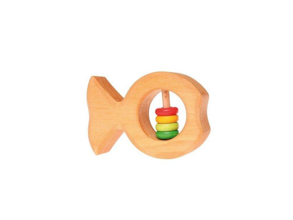 Dřevěné chrastítko do ruky rybka – barevné kroužky