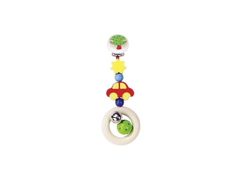 Autíčko – závěsná dřevěná hračka s rolničkou