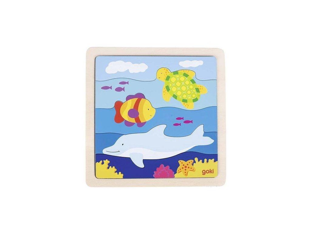 Dřevěné puzzle – V moři, 5 dílů