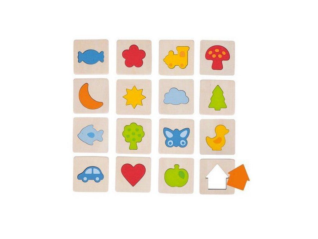 Hmatová hra – poznej tvar v rámečku, 32 dílů