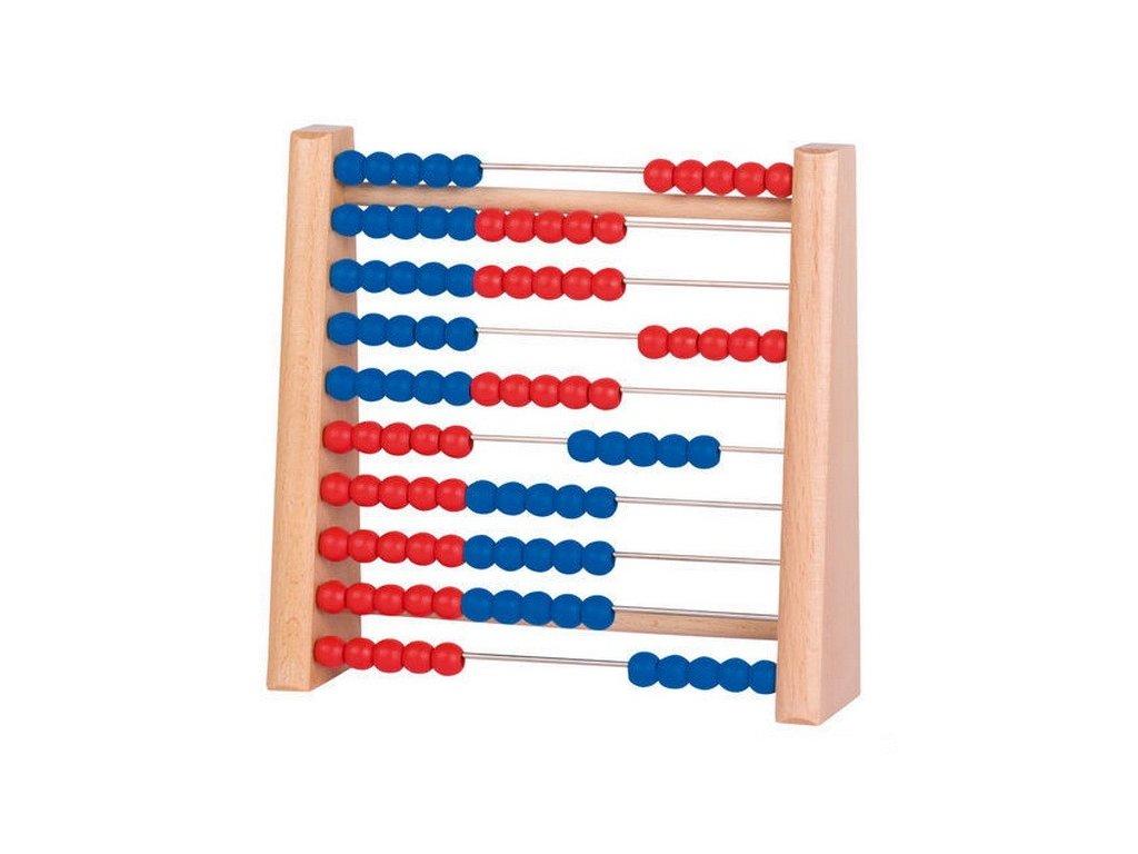 Počítadlo se 100 dřevěnými perličkami modrá a červená