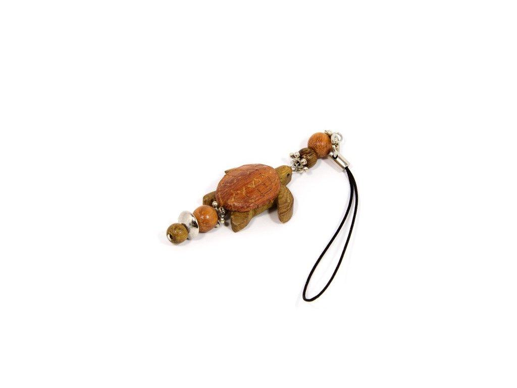 044 - Želva - přívěsek na mobil (tropické dřevo)