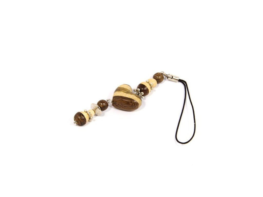 044 - Srdíčko pruhované - přívěsek na mobil (tropické dřevo)