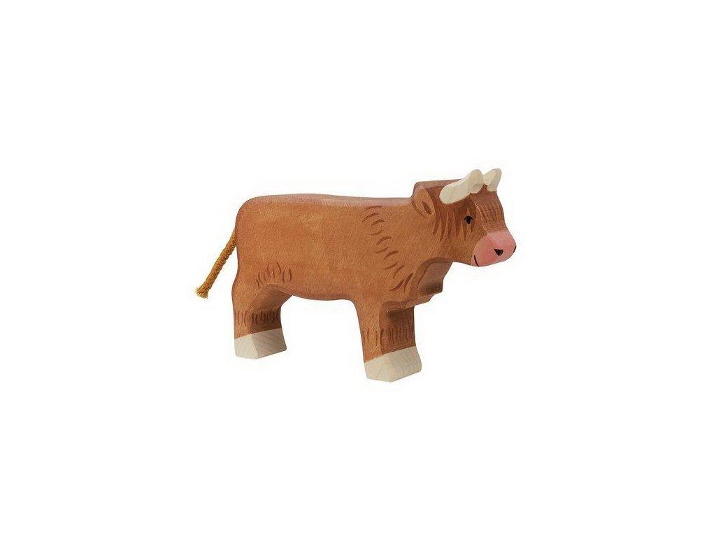 Skotská náhorní kravička – zvířátko ze dřeva