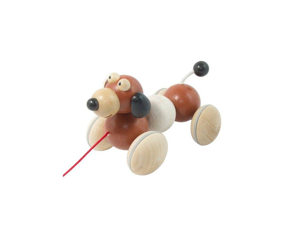 Dřevěný tahací pes