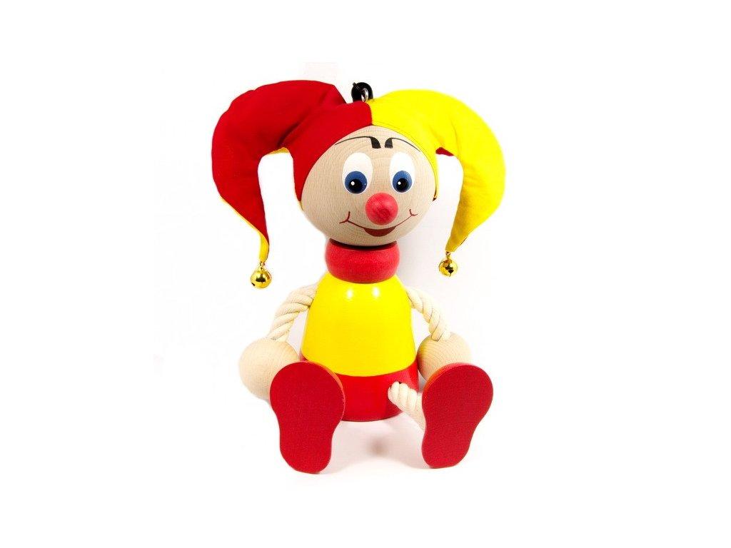 Kašpárek žlutočervený na pružině - Maxi figurka