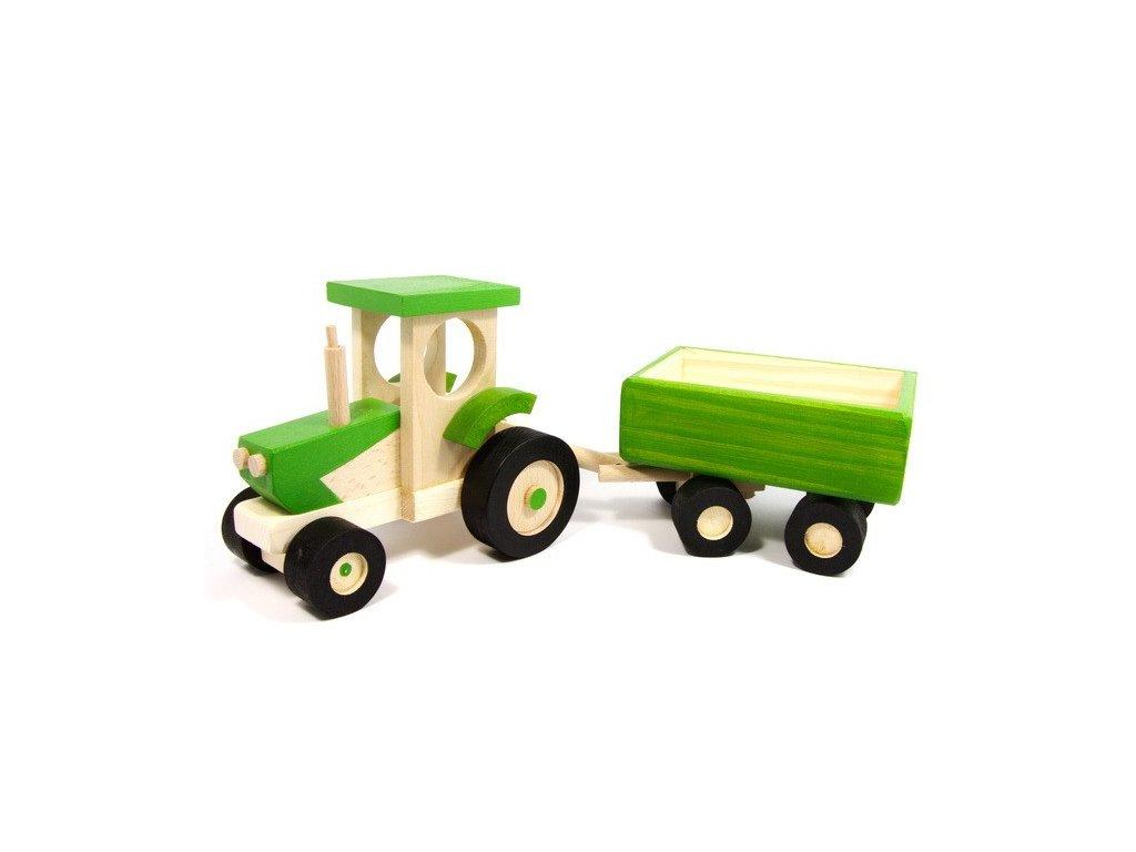 Zelený traktor s valníkem