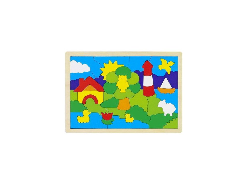 Dřevěné puzzle na desce – Maják