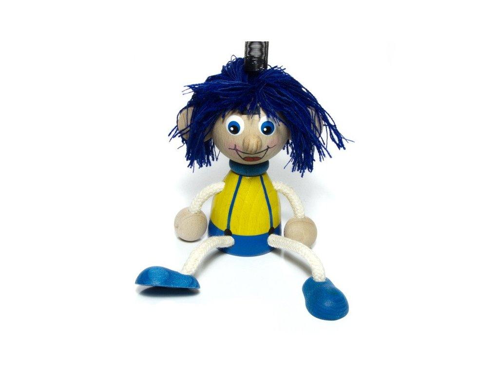 Vlasatý kluk na pružině - modré vlasy