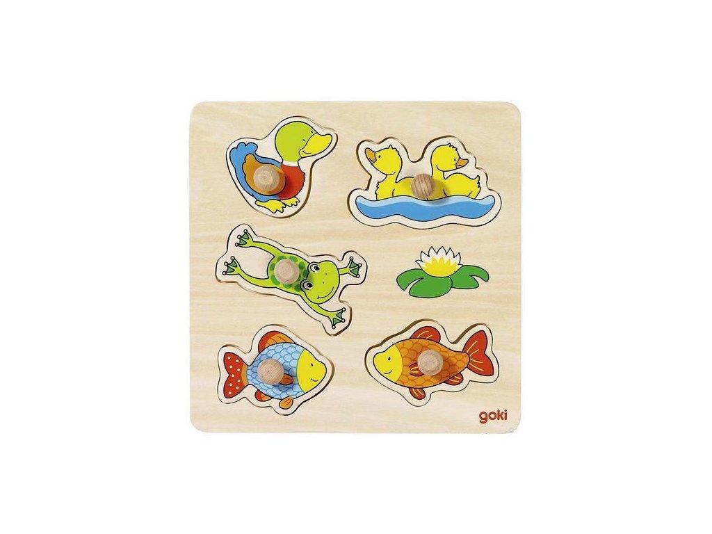 Vkládací dřevěné puzzle – rybník