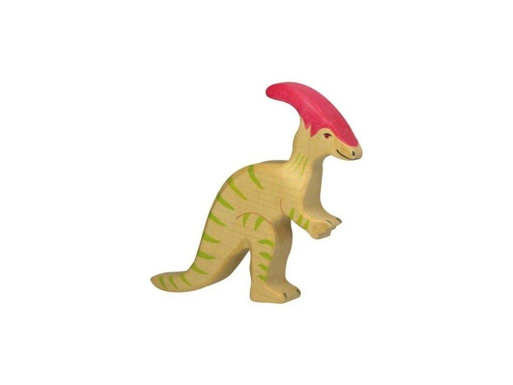 Parasaurolophus – dřevěná vyřezávaná hračka