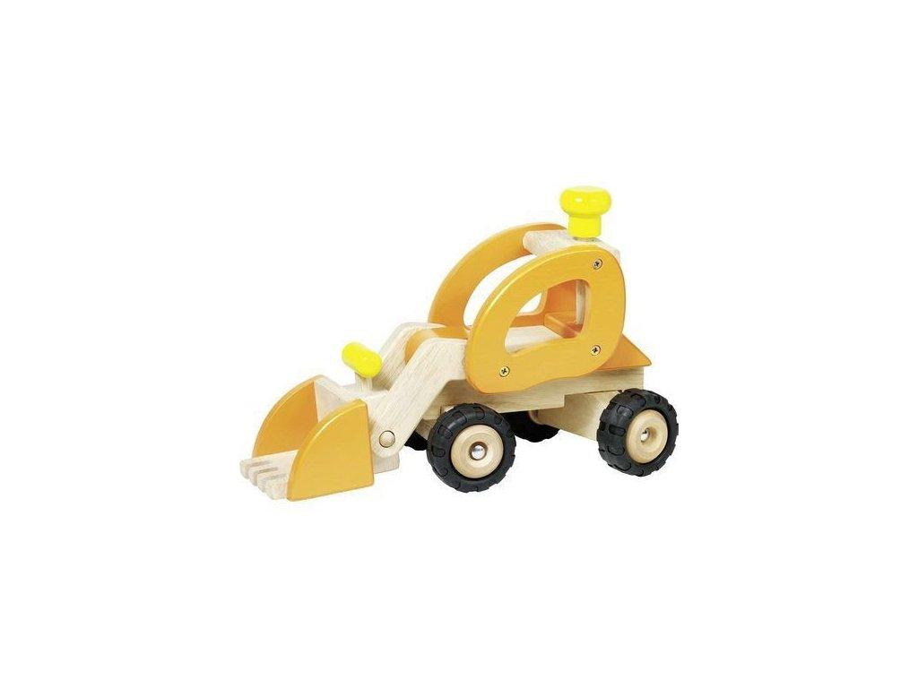 Dřevěné auto oranžový bagr