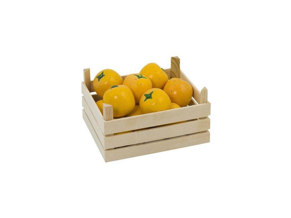 Pomeranče v dřevěné přepravce, 10 ks