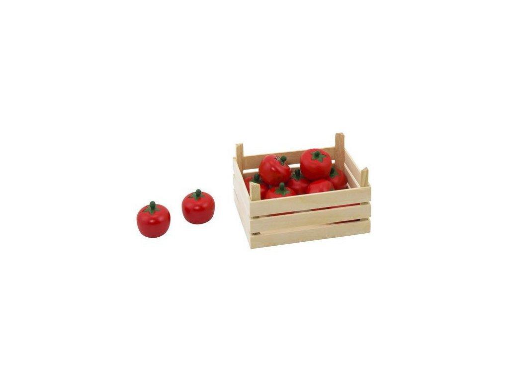 Rajčata v dřevěné přepravce, 10 ks