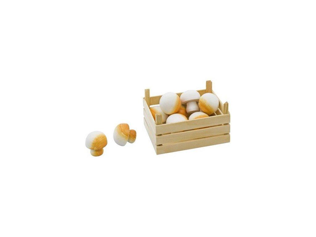 Žampiony v dřevěné přepravce, 10 ks