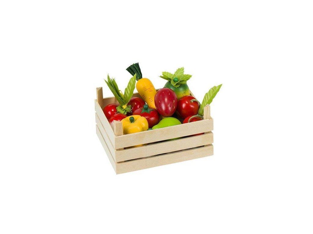 Směs ovoce a zelenina v dřevěné přepravce, 10 ks
