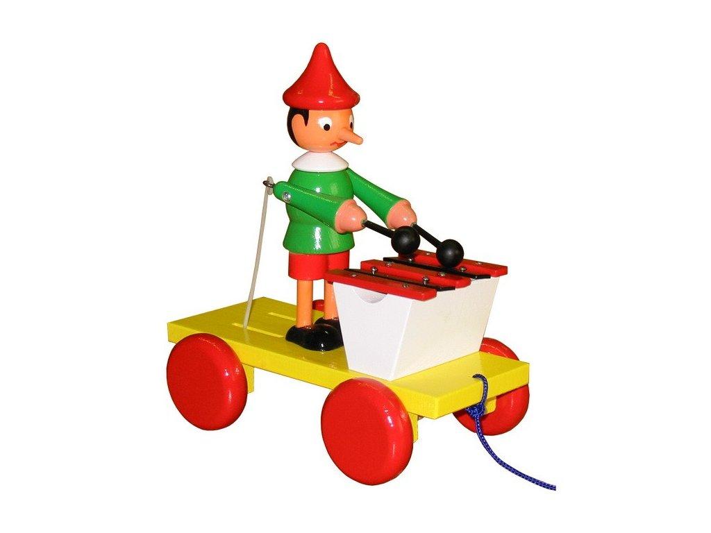Tahací Pinochio s xylofonem - barevný