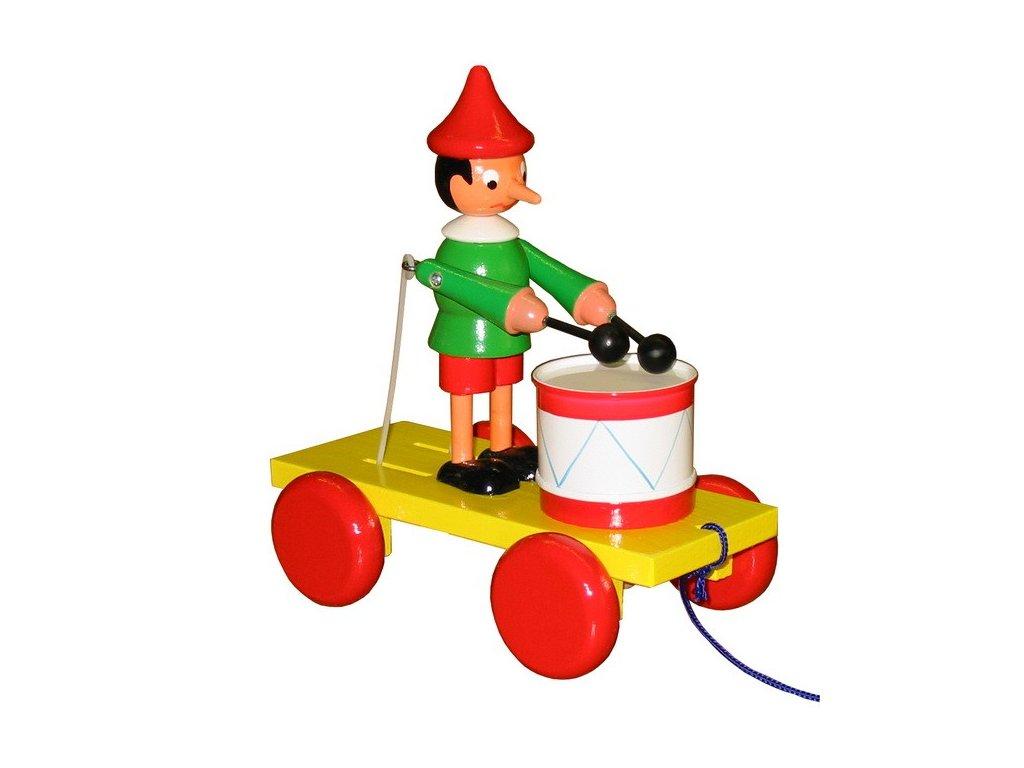 Tahací Pinochio s bubnem - barevný