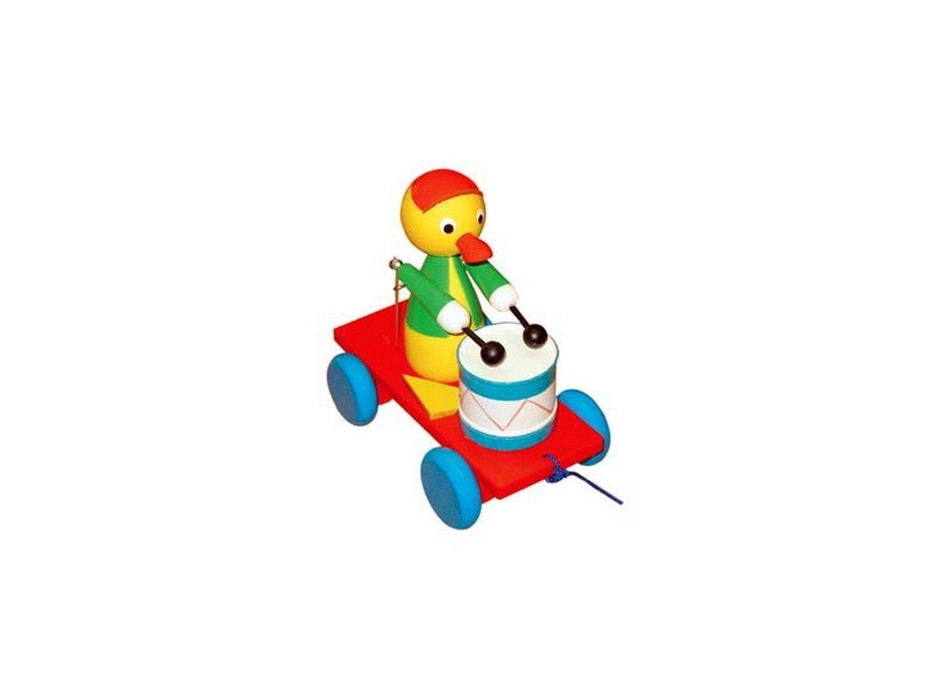 Tahací káčátko s bubnem - barevné