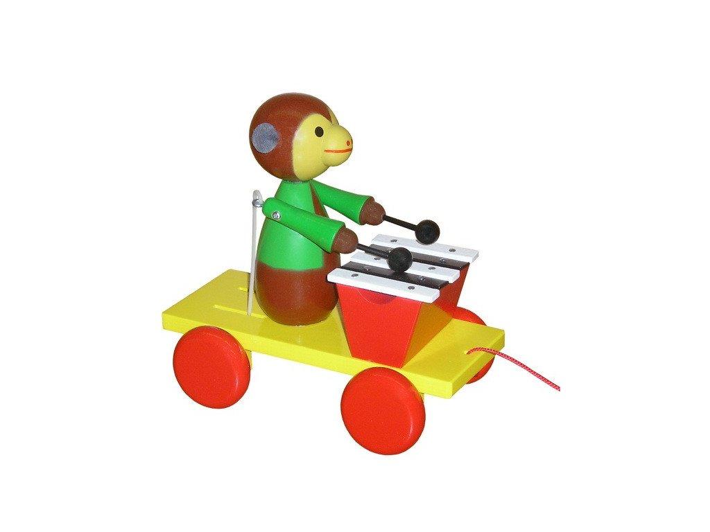 Tahací opice s xylofonem - barevná