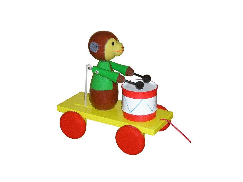 Tahací opice s bubnem - barevná