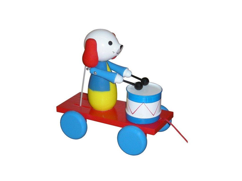 Tahací pes s bubnem - barevný