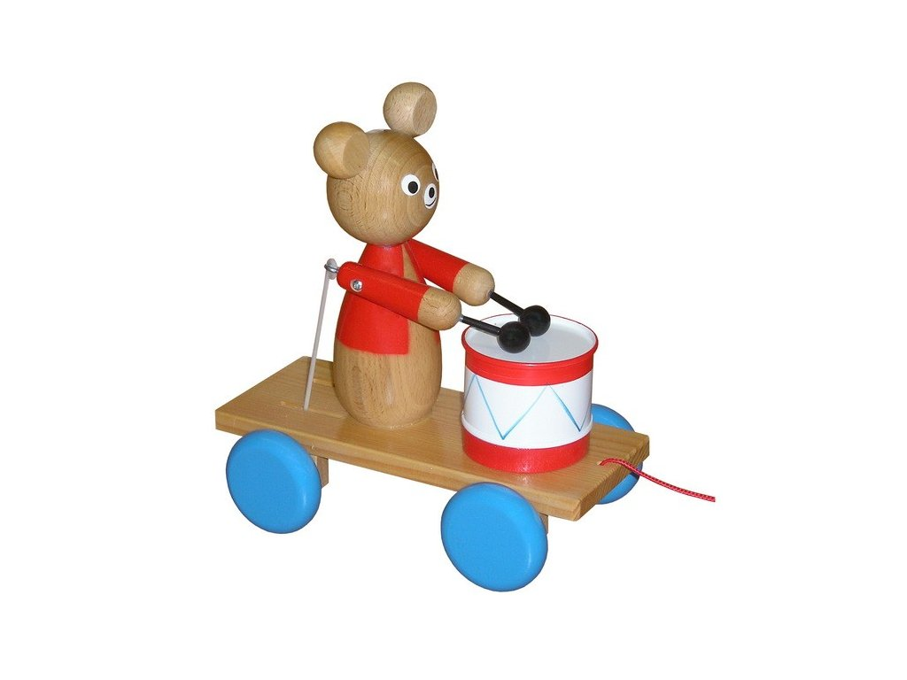 Tahací vozík - medvěd lakovaný s bubínkem
