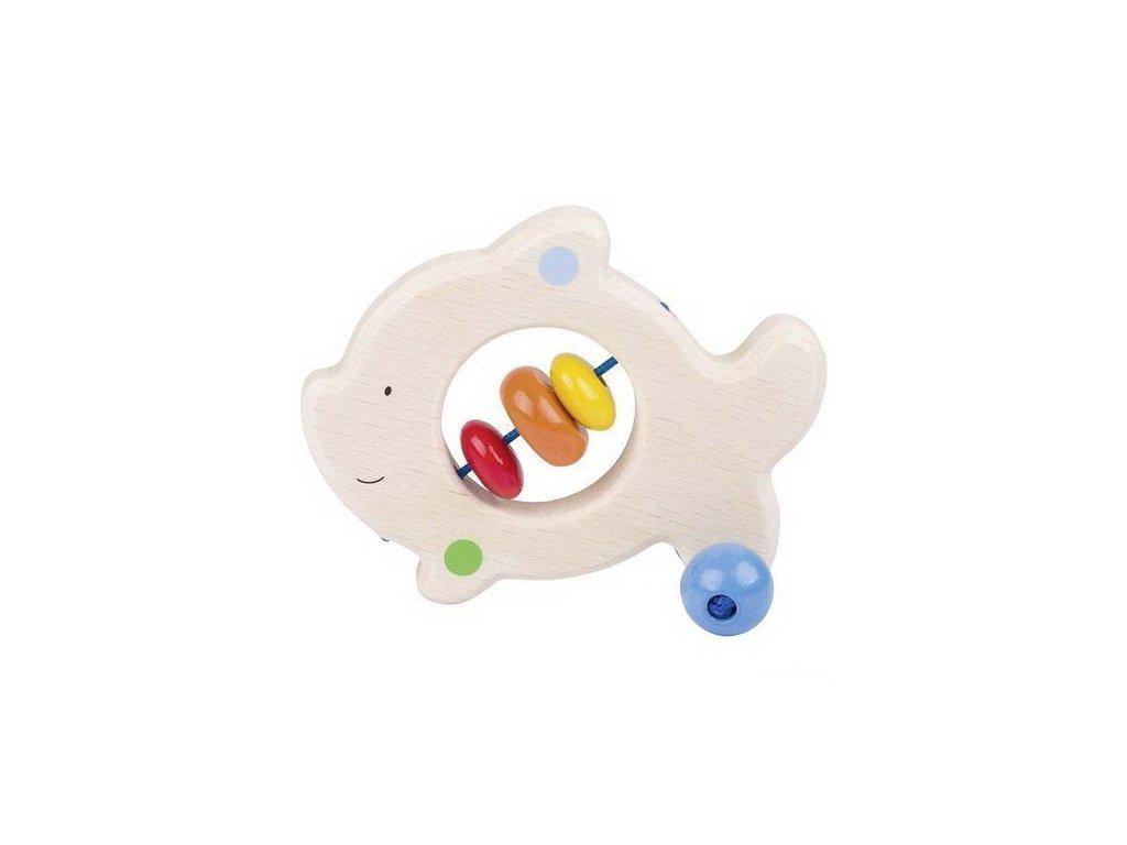 Rybička – dřevěná hračka do ruky pro miminka