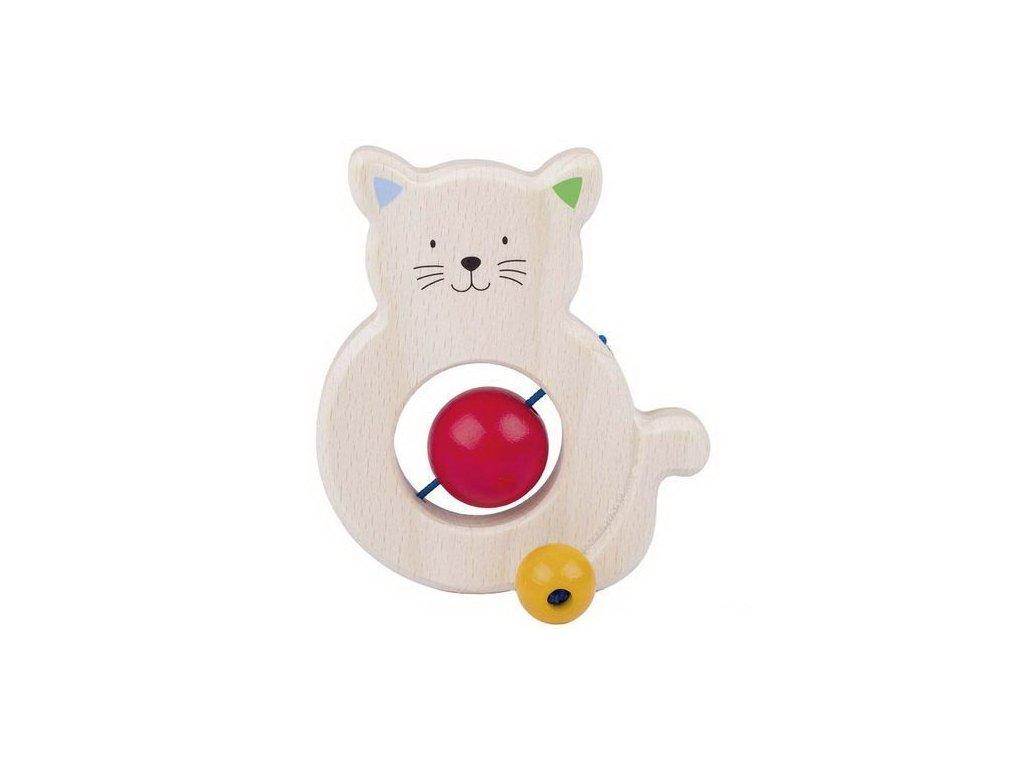 Kočka – dřevěná hračka do ruky pro miminka