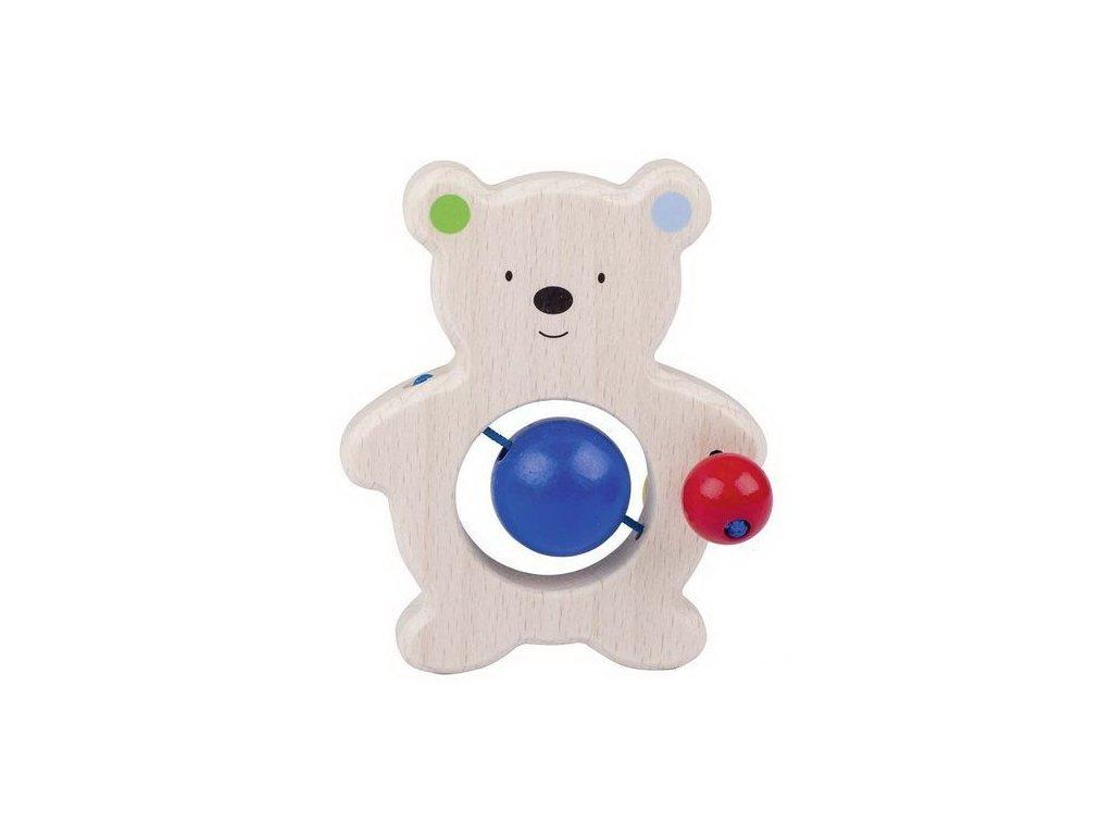 Medvídek – dřevěná hračka do ruky pro miminka