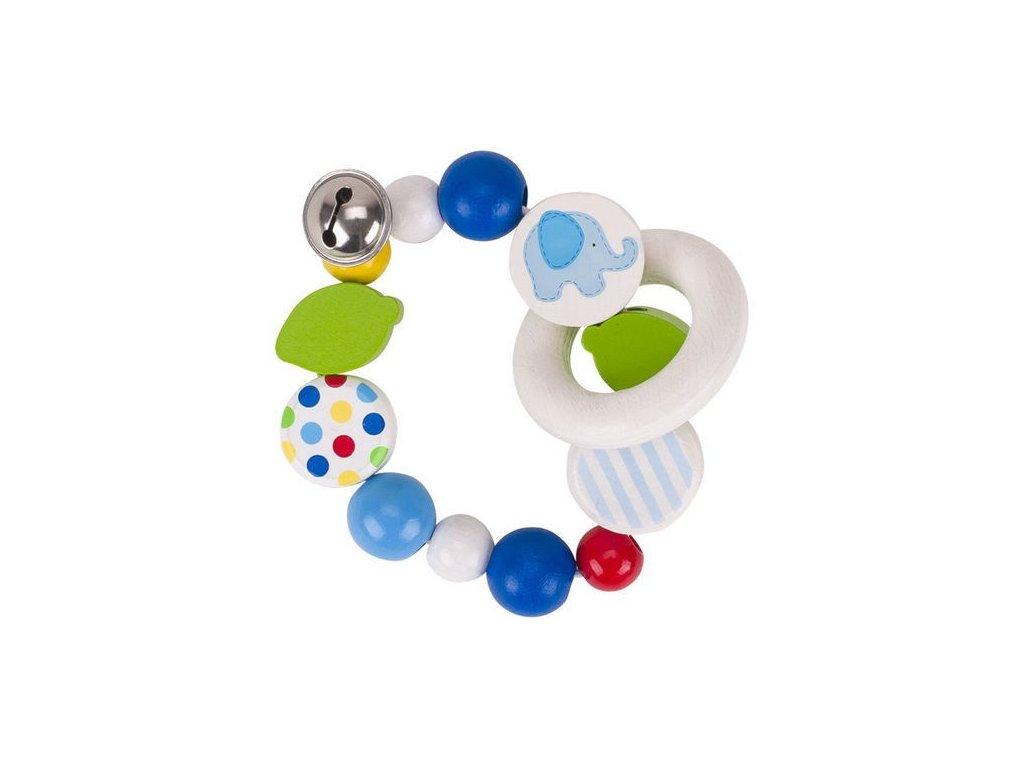 Modré slůně slůně – elastický kroužek s rolničkou