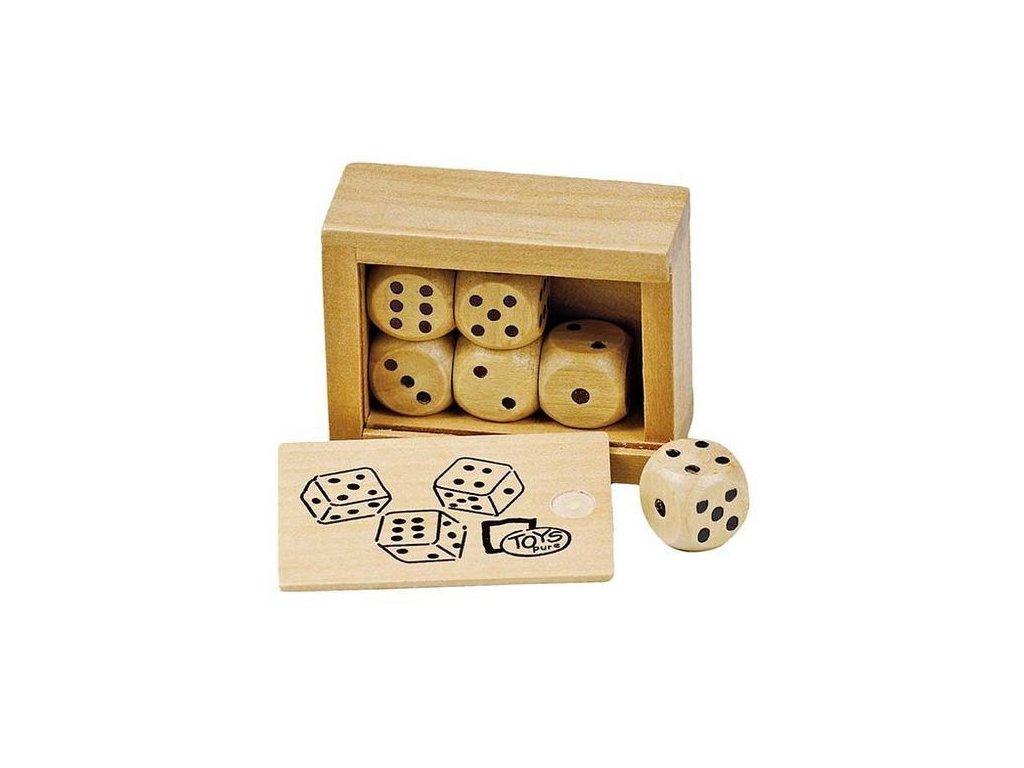 Stolní hra – Hrací kostky v dřevěné krabičce