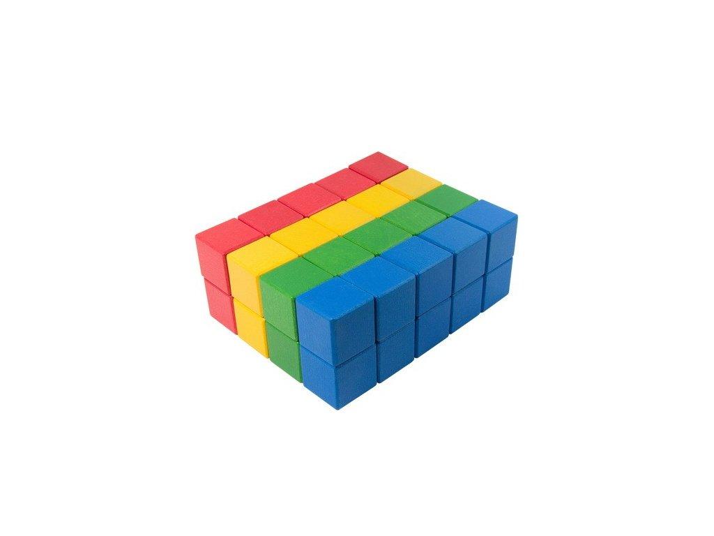 Dřevěné kostky 4 cm (4 barvy) - 40 ks